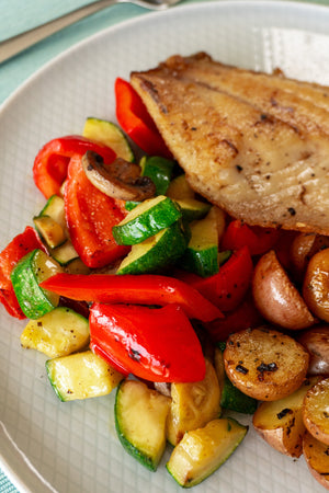 Tilapia with Seasonal Veg and Baby Potato