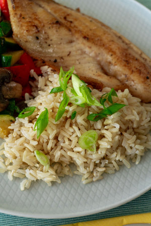Tilapia with Seasonal Veg and Brown Rice