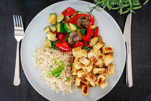 Sesame Tofu with Mixed Veg and Brown Rice