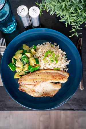 Tilapia with Green Veg and Brown Rice