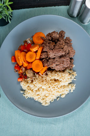 Lean Beef with Seasonal Veg and Brown Rice