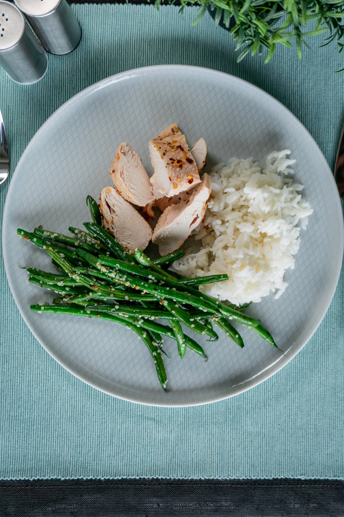 Chicken Breast with Hemp Green Beans and Jasmine Rice