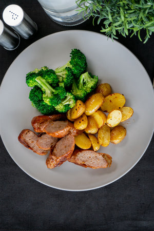Beef Sausage with Broccoli and Roast Baby Potato