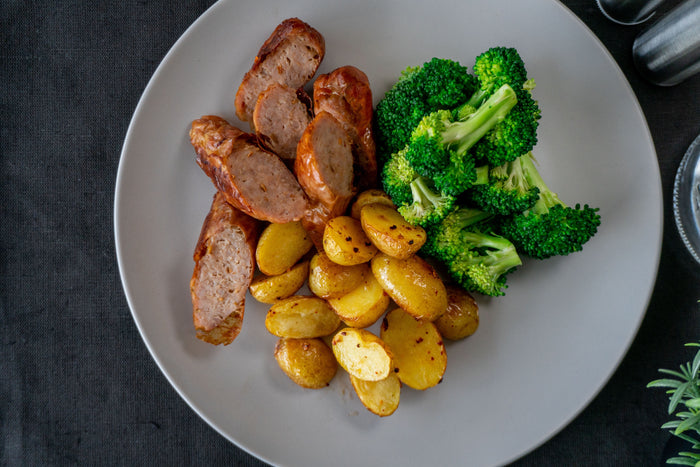 Beef Sausage with Broccoli and Brown Rice
