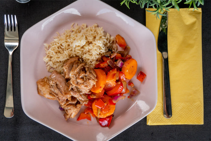 Sugar Free BBQ Pulled Pork with Seasonal Veg and Brown Rice