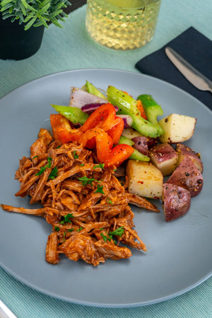 Sugar Free BBQ Pulled Pork with Seasonal Veg and Potato