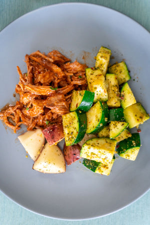Sugar Free BBQ Pulled Pork with Zucchini and Potato