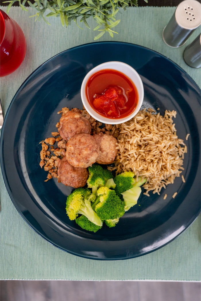 Turkey Meatball with Broccoli and Brown Rice