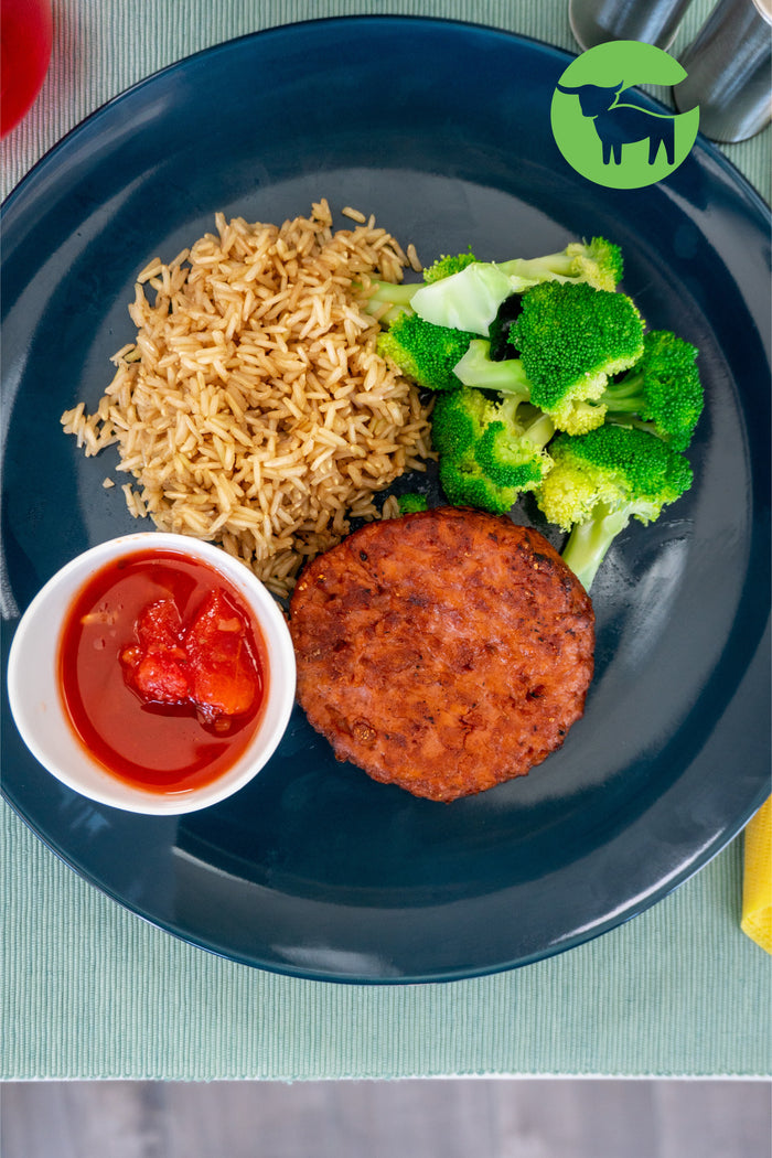 Beyond Meat Marinara with Broccoli and Brown Rice