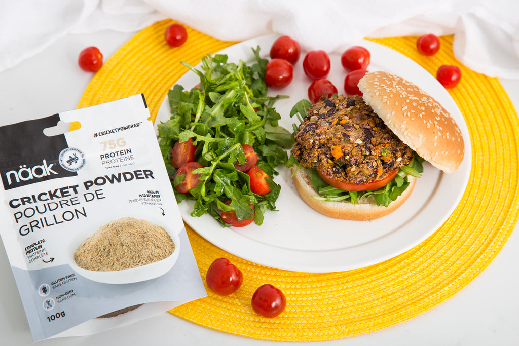 cricket protein burger - sustainable nutrition