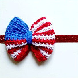 Crochet American Flag Bow 4th of July Independence Day Headband Clip Hair Accessory Newborn Baby Infant Toddler Child Adult Photography Photo Prop Handmade - Red Lollipop Boutique