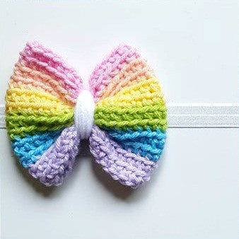 Crochet Rainbow Bow Headband Clip Hair Accessory Newborn Baby Infant Toddler Child Adult Photography Photo Prop Handmade - Red Lollipop Boutique