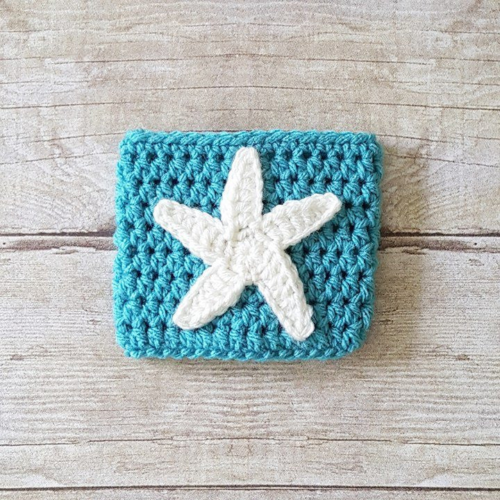 Crochet Starfish Coffee Cup Cozy Cozies Mom Life I Love Coffee - Red Lollipop Boutique