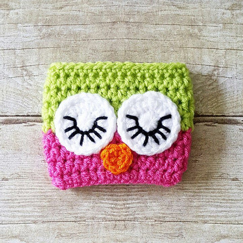 Crochet Owl Coffee Cup Cozy Cozies Mom Life I Love Coffee - Red Lollipop Boutique