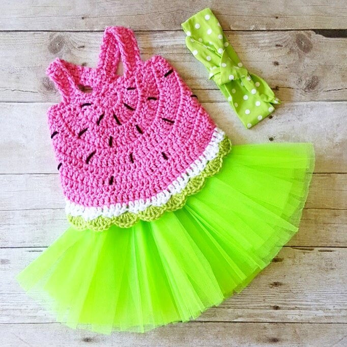 Crochet Baby Watermelon Summer Open Back Swing Top Tank Halter Top Polka Dot Tie Knot Cotton Headband Tutu Set Newborn Infant Toddler Handmade Clothing - Red Lollipop Boutique