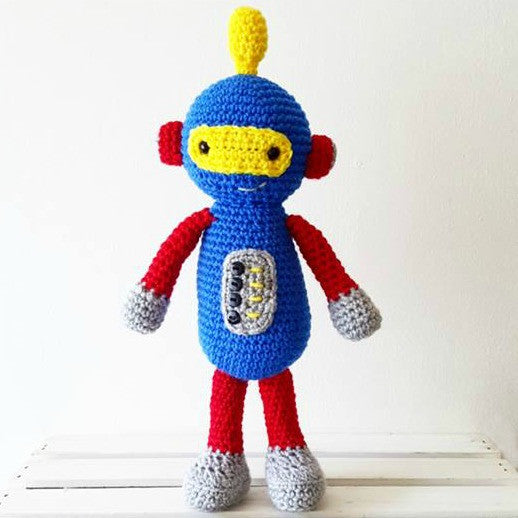 Crochet Robot Toy Doll Baby Infant Toddler Developmental Toy Handmade Baby Nursery Decor - Red Lollipop Boutique