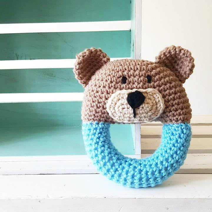 Crochet Baby Bear Rattle Toy Handheld Easy Grip Teddy Bear Newborn Infant Baby Shower Gift Handmade Present - Red Lollipop Boutique