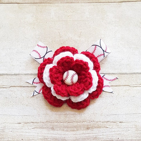 Crochet Baseball Flower Ribbon Bow Headband Newborn Baby Infant Toddler Hair Accessory Handmade Baby Shower Gift Photography Photo Prop - Red Lollipop Boutique