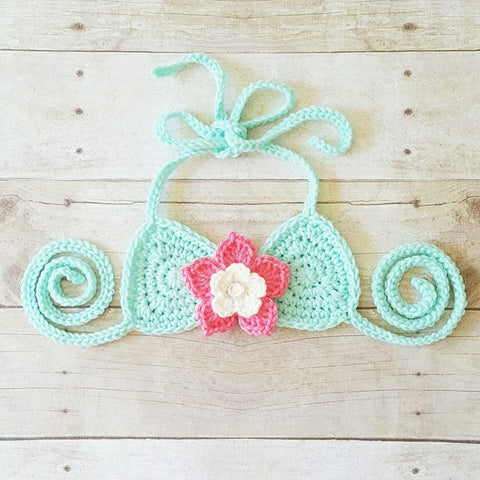 Crochet Bikini Top Bathingsuit Swimsuit Flower Handmade Baby Toddler Child Pre-Teen Summer - Red Lollipop Boutique