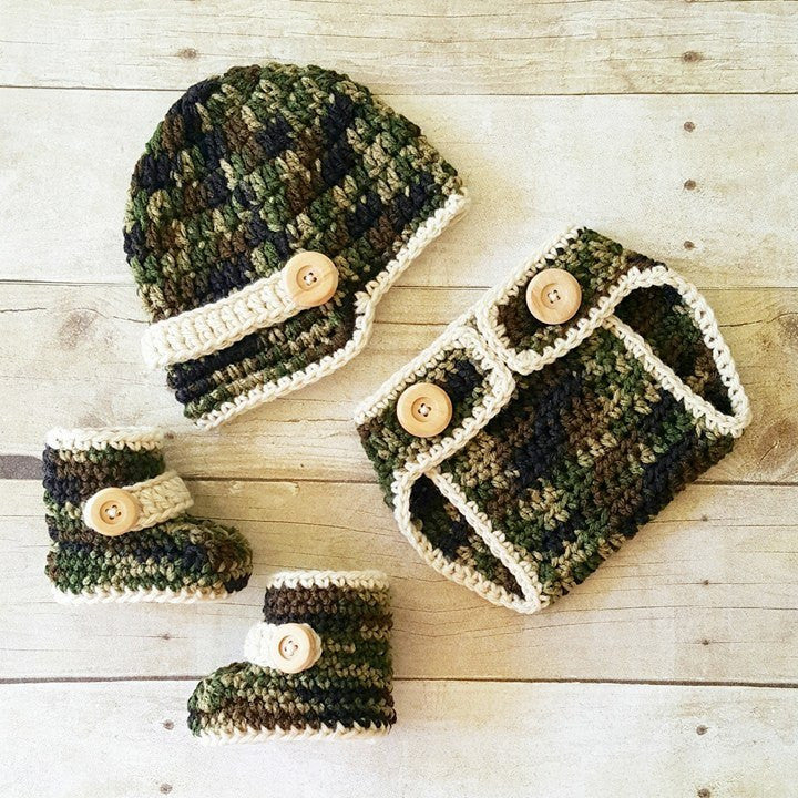 Crochet Baby Camo Hat Beanie Diaper Cover Boots Shoes Set Newborn Infant Handmade Baby Shower Gift Military Army Photography Photo Prop - Red Lollipop Boutique