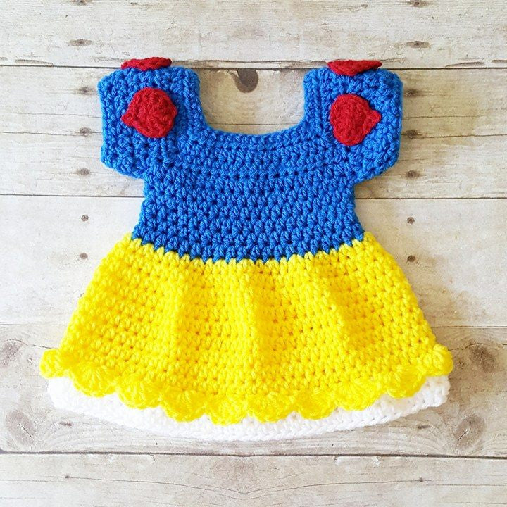 Crochet Baby Snow White Inspired Dress Costume Dress Up Handmade Disney Inspired Baby Shower Gift Photography Photo Prop - Red Lollipop Boutique