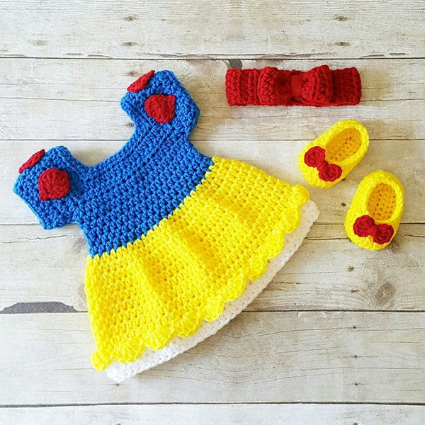 Crochet Baby Snow White Inspired Dress Bow Headband Shoes Set Costume Dress Up Handmade Disney Inspired Baby Shower Gift Photography Photo Prop - Red Lollipop Boutique