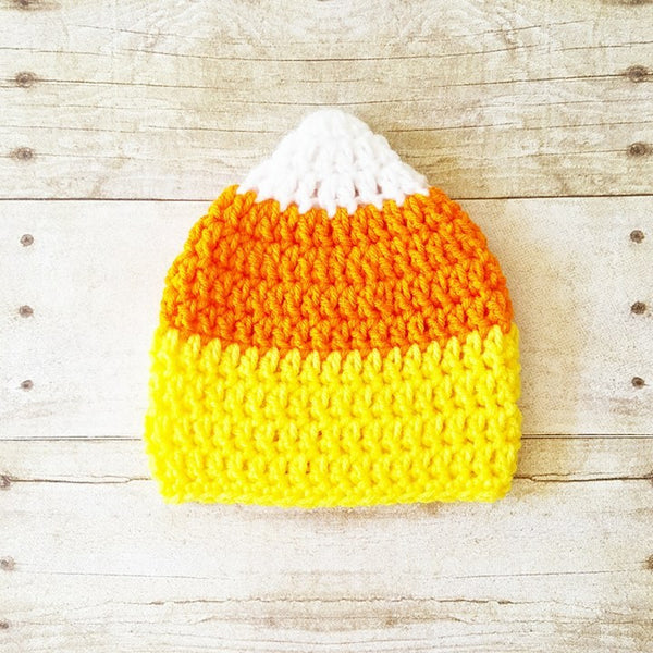 Crochet Candy Corn Beanie Hat Halloween Costume Newborn Infant Baby Toddler Child Adult Handmade - Red Lollipop Boutique
