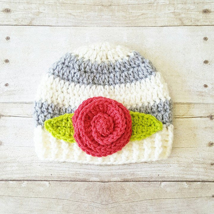 Crochet Striped Rosette Flower Beanie Hat Newborn Infant Baby Toddler Child Handmade Baby Shower Gift Present - Red Lollipop Boutique