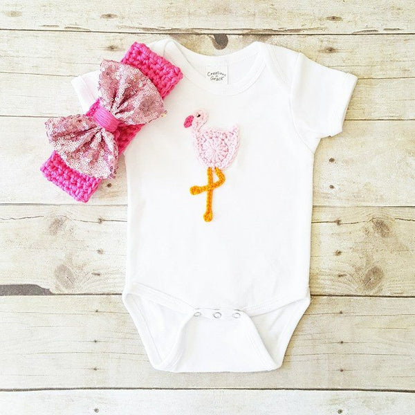 Baby Crochet Flamingo Onesie Shirt Bodysuit Sparkle Bow Crochet Headband Set Newborn Infant Handmade Baby Shower Gift Present - Red Lollipop Boutique