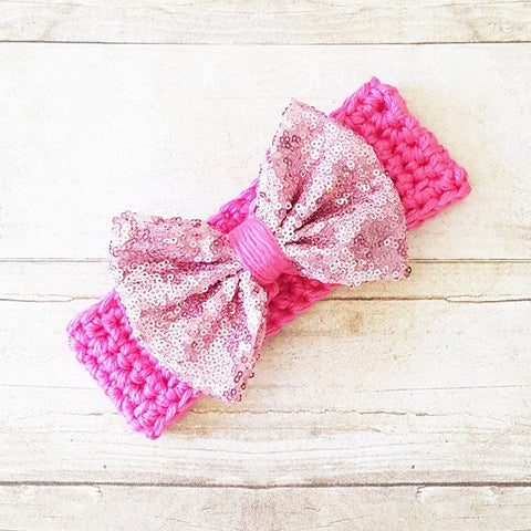 Sparkle Bow Crochet Headband Hair Accessory Newborn Infant Baby Toddler Girl Child Adult Handmade Baby Shower Gift Present