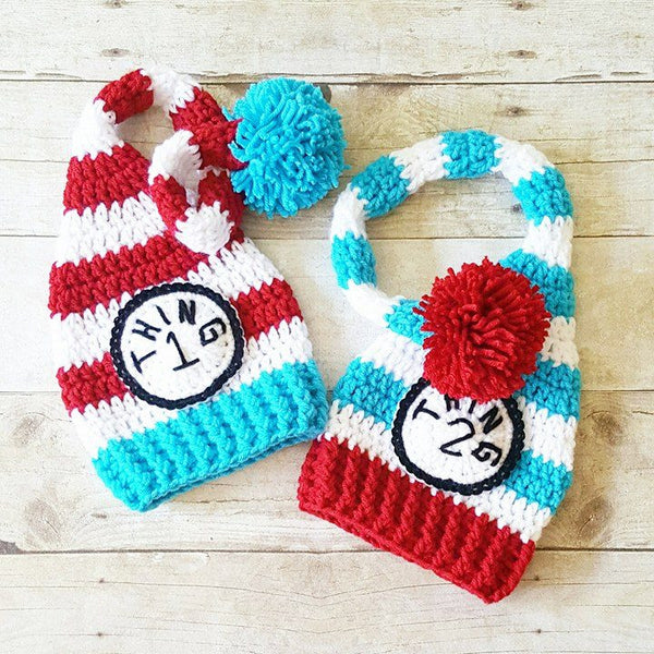 Crochet Dr. Seuss Thing 1 Thing 2 Striped Beanie Stocking Cap Set Infant Newborn Baby Toddler Handmade Baby Shower Gift Twins - Red Lollipop Boutique