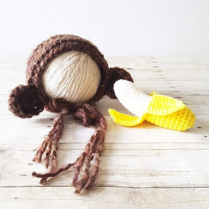 Crochet Baby Monkey Bonnet Hat Beanie Toy Banana Set Newborn Infant Animal Handmade Photography Photo Prop Baby Shower Gift - Red Lollipop Boutique