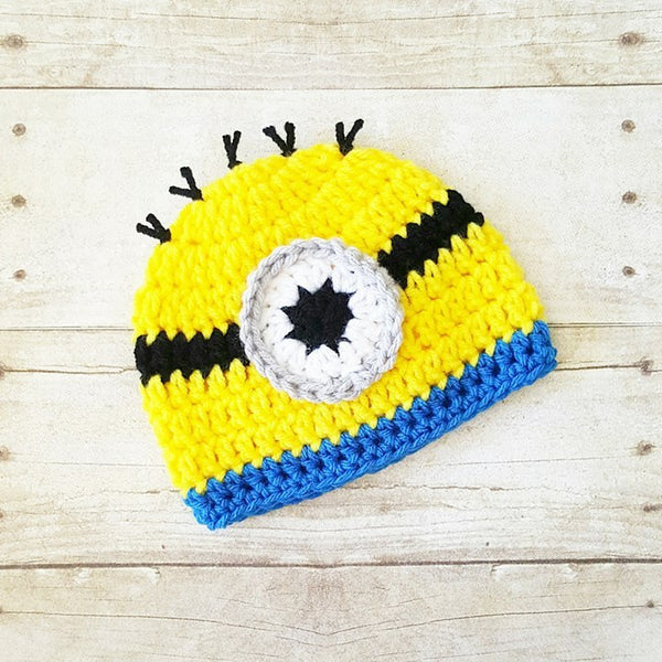 Crochet Baby Minion Hat Beanie Boots Slippers Shoes Set Newborn Infant Photography Photo Prop Handmade Baby Shower Gift - Red Lollipop Boutique