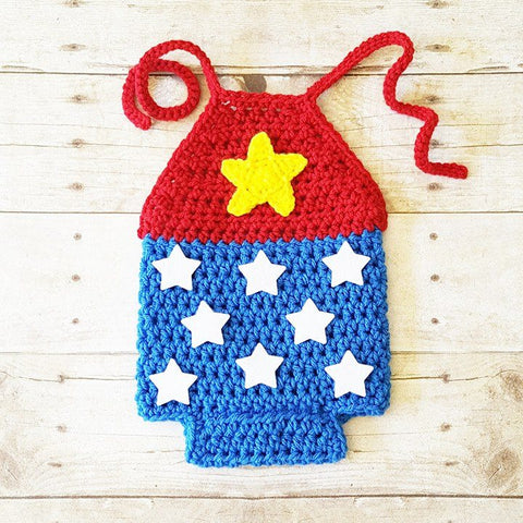 Crochet Baby Wonder Woman Romper Costume Infant Newborn Baby Handmade Baby Shower Gift Photography Photo Prop - Red Lollipop Boutique