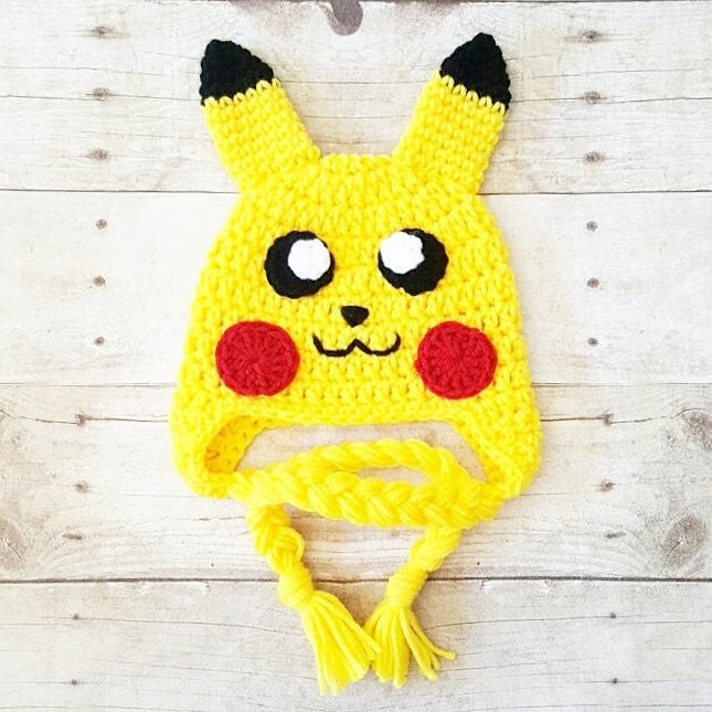 Crochet Pokemon Pikachu Hat Beanie Newborn Infant Baby Toddler Child Adult Photography Photo Prop Handmade Baby Shower Gift - Red Lollipop Boutique