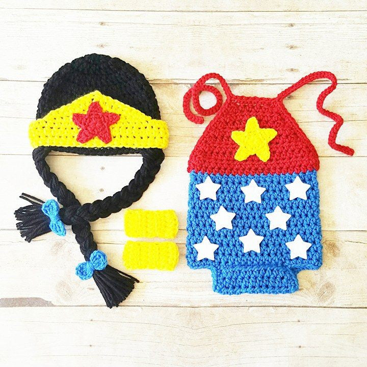 Crochet Baby Wonder Woman Costume Set Romper Hat Beanie Arm Cuffs Handmade Baby Shower Gift Photography Prop - Red Lollipop Boutique