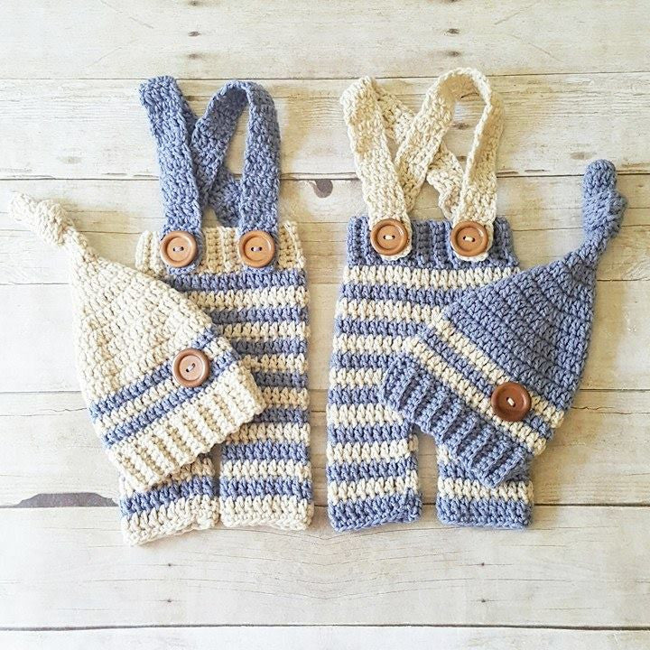 Crochet Baby Striped Pants Overalls Knot Hat Beanie Set Infant