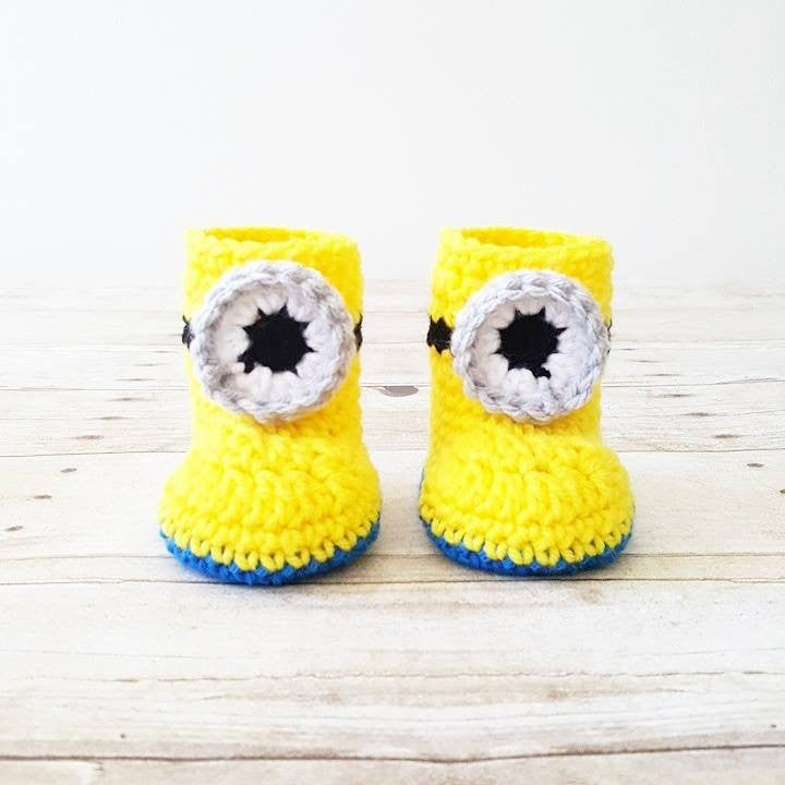Crochet Baby Minion Shoes Boots Slippers Newborn Infant Photography Photo Prop Handmade Baby Shower Gift - Red Lollipop Boutique