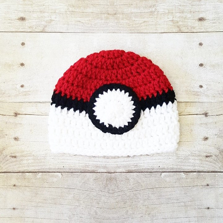 Crochet Pokemon Poke Ball Hat Beanie Newborn Infant Baby Toddler Child Adult Photography Photo Prop Handmade Baby Shower Gift - Red Lollipop Boutique