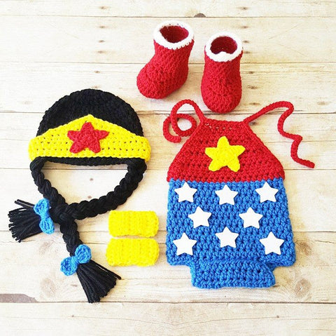 Crochet Baby Wonder Woman Costume Set Romper Hat Beanie Arm Cuffs Shoes Boots Handmade Baby Shower Gift Photography Prop - Red Lollipop Boutique