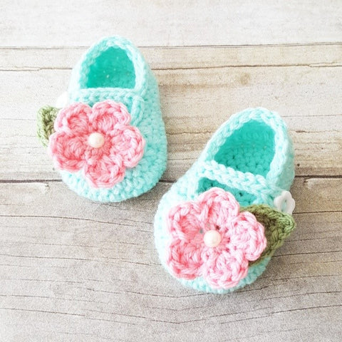 Crochet Baby Flower Shoes Booties Mary Jane's Newborn Infant Accessories Footwear Handmade Baby Shower Gift - Red Lollipop Boutique