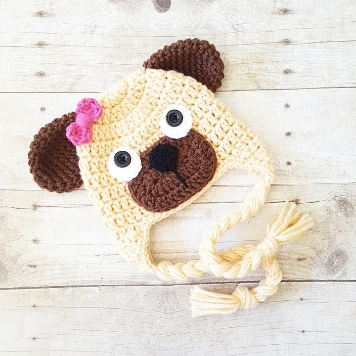 Crochet Puppy Dog Pug Beanie Hat Newborn Infant Toddler Child Adult Handmade Photography Photo Prop Animal Hat Baby Shower Gift - Red Lollipop Boutique
