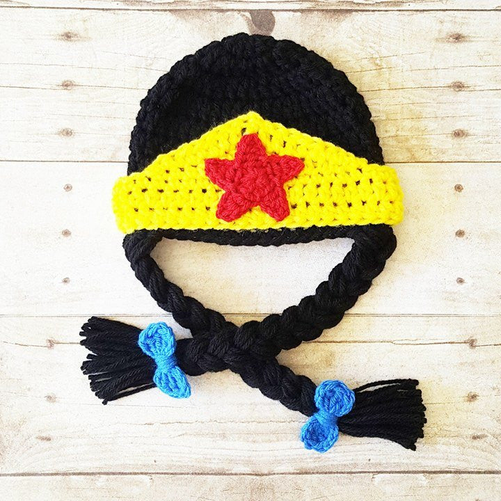 Crochet Wonder Woman Beanie Hat Braids Newborn Infant Baby Toddler Child Adult Costume Handmade Baby Shower Gift - Red Lollipop Boutique