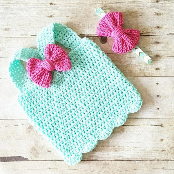 Crochet Baby Bow Tank Top Shirt Racer Back Bow Headband Set Scalloped Edge Newborn Infant Toddler Clothing Handmade Summer Spring Baby Shower Gift - Red Lollipop Boutique