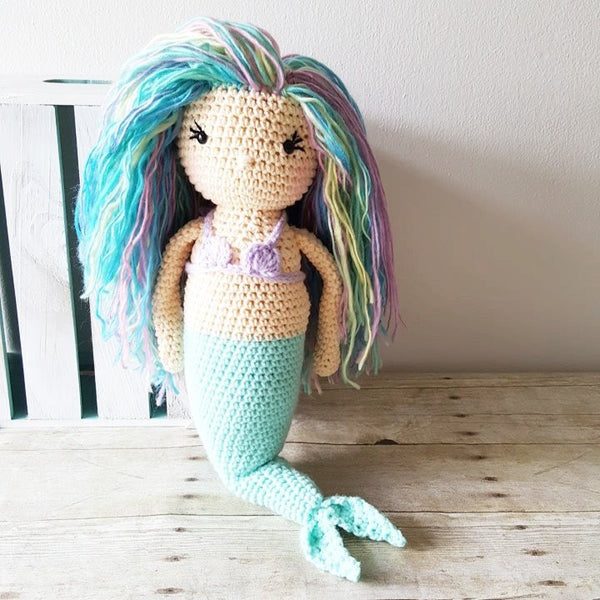Crochet Mermaid Doll Toy Handmade Toddler Baby Shower Gift Nursery Decor - Red Lollipop Boutique