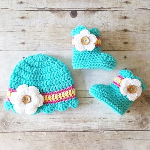 Crochet Baby Scalloped Flower Boots Booties Shoes Slippers Hat Beanie Set Infant Handmade Footwear Accessory Baby Shower Gift - Red Lollipop Boutique