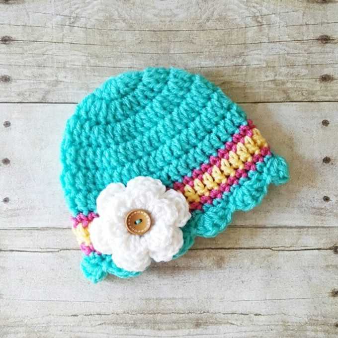 Crochet Scalloped Flower Beanie Hat Newborn Baby Infant Toddler Child Adult Handmade Baby Shower Gift Photography Photo Prop - Red Lollipop Boutique