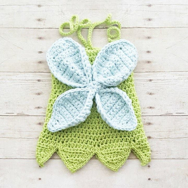 Crochet Baby Tinkerbell Inspired Dress Costume Dress Up Handmade Disney Inspired Baby Shower Gift Photography Photo Prop - Red Lollipop Boutique