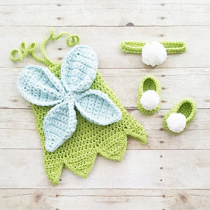 Crochet Baby Tinkerbell Fairy Princess Inspired Dress Bow Headband Shoes  Set Costume Dress Up Handmade Disney