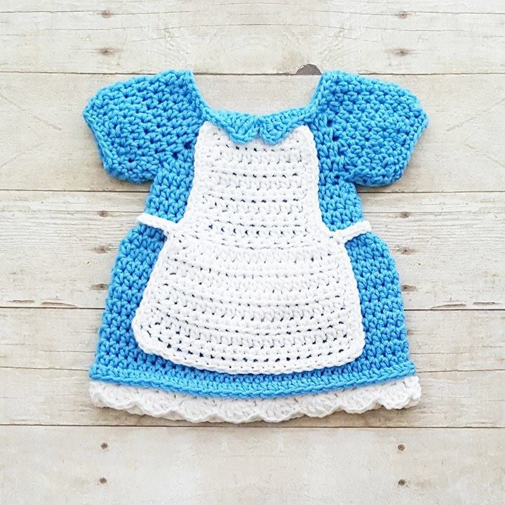 Crochet Baby Alice In Wonderland Inspired Dress Costume Dress Up Handmade Disney Inspired Baby Shower Gift Photography Photo Prop - Red Lollipop Boutique